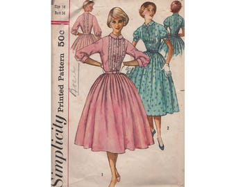 1950s Bouffant Dress Size 14 Bust 34 Simplicity 2126 Tucked Front Bodice Lace Trim Full Gathered Skirt Vintage Sewing Pattern