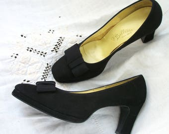 Vintage BELLISSA PARIS~ROME black shoes ~ Heels ~ Leather / Suede ~ Size 7 1/2