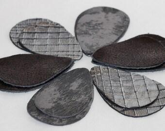 12pcs Metallic Gray Leather Teardrops, Metallic  Silver  Genuine Leather