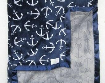 Minky blanket, anchor blanket, nautica blanket, baby gift,  Boy Minky, Baby boy blanket, modern blanket, arrow blanket, navy and grey
