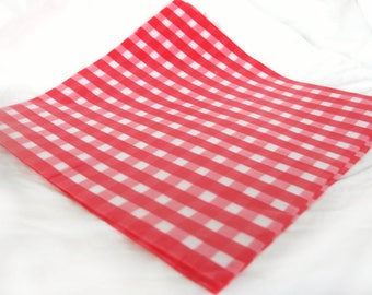 50 Gingham WAX PAPER sheets-Pink Lemonade party shop EXCLUSIVE-basket liners-food safe
