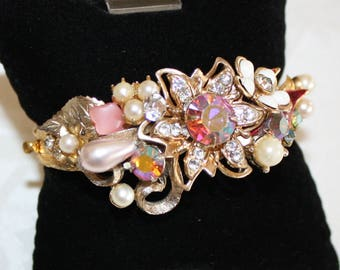 Lovely, Vintage Floral Spray Bridal Bracelet, One of a Kind Bridal Cuff in Shades of Pink and White