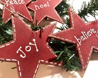 Peace Joy Believe  Noel tree ornaments