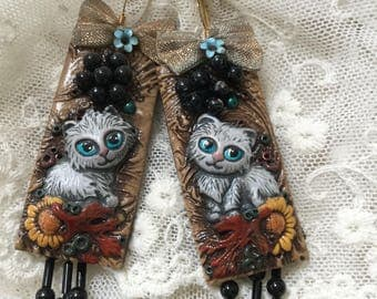 Ooak statement earrings cats and beads