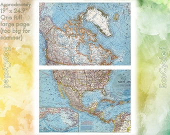 Vintage Atlas Map 1960 North America National Geographic Map antique full color Map Paper Ephemera Historical atlas large 19 x 25 Inch NG16