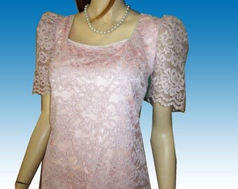 UNWORN 70s Pink Lace Tiered Cocktail Dress 37-34-37 by Sylvia Ann Wedding Rhinestones Puffy Shoulders Deco Shift Made in USA
