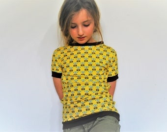 Girls t shirt retro top yellow flower fitted ditsy floral print spring summer cute cotton baby vest soft tee pretty toddler t-shirt