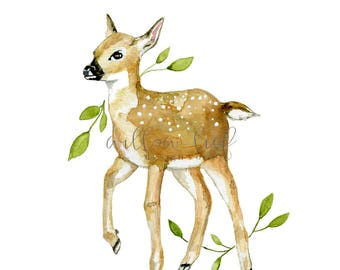 Fawn Print, Wall Art, Deer Print, Deer Art, Watercolor Print, Spring, Woodland Art, Art Printable