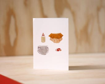Baby Card + New baby Girl + Greeting Card + Illustration