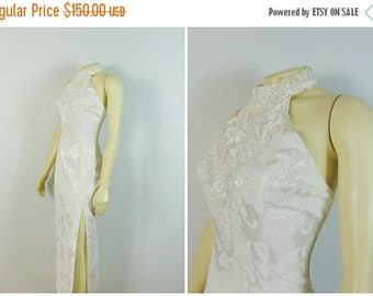 MOVING SALE Vintage Dress 80s 90s Gunne Sax By Jessica McClintock Ivory Brocade Halter Dress Embellished Wedding / Prom / Formal Sz Small to
