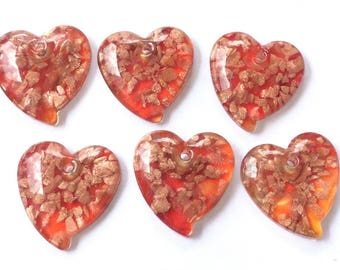 6 Fine Fiery Red Heart Lampwork Charm with Gold