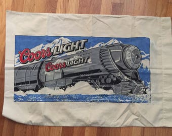 Vintage 80s Silver Bullet Coors Light pillowcase as is