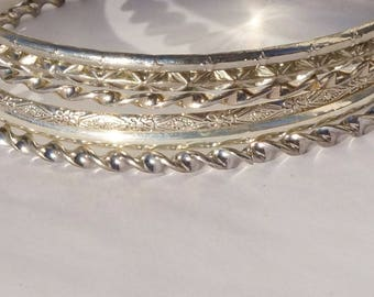 BANGLES - SILVER STACK, silver colored stack of 6 dainty bangles, all handmade, different pattern, stack of 6 silver colored bangles