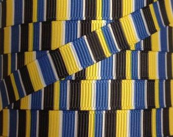 3/8 Inch Grosgrain Ribbon - Printed Grosgrain Ribbon - Blue Black Yellow Stripe Ribbon - Ribbon By The Yard - Ribbon Supply - Stripe Ribbon