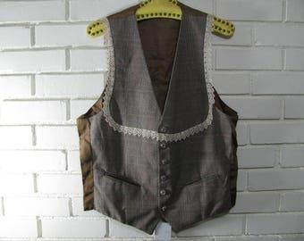 80's  gray Glen Plaid vest with lace trim waist size 36''