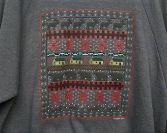 80's Men's Gray Christmas Sweatshirt size 2 X