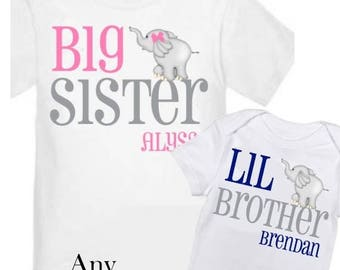 ON SALE 2 Big Sister and Little Brother Elephant Shirts Personalized Sibling T Shirt Set