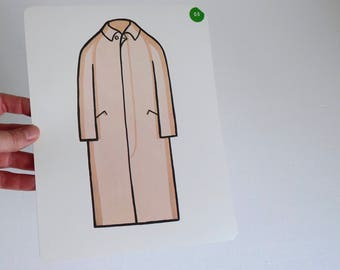 Large Vintage Flash Card of a Tan Trench Coat - 1965 Peabody Language Development