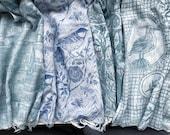 Hand printed organic cotton lino block scarves.
