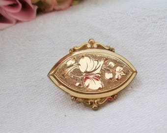 Antique Victorian Pendant Pin Low Karat Gold or Gold Filled  Awesome Etched Design