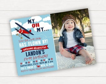 Airplane Birthday Invitation Airplane Invitation Time Flies Birthday Invitation First Birthday 1st Birthday Boy Birthday Invitation