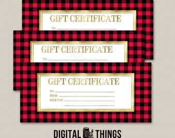 Faux Gold Foil Red Buffalo Plaid Check Printable Gift Certificate Coupon Last Minute Gift For Men PDF Digital Instant Download DT2007