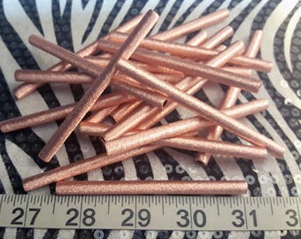 Copper Tube Beads 3 1/2 inch 5 pcs Sample Pack, Sparkly Brushed Finish, Extra Long Metal Bead, Jewelry Tubes, Pure Copper, Metalworking