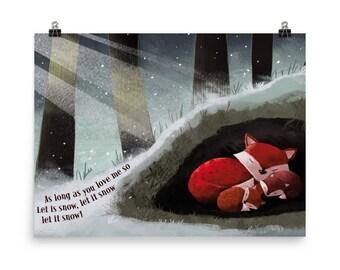 Snowy fox den art print