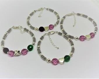 Mother Daughter Bracelets Easter Gift For Daughter Custom Bracelets Matching Bracelets Birthstone Bracelets Sterling Silver BuyAny3+1 Free