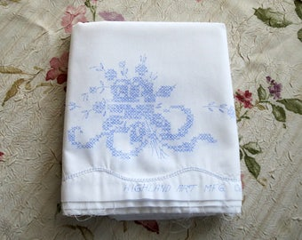 Cross Stitch Pillowcase, Stamped Pillowcases To Embroider, Un-hemmed, Highland Art, Needlework Pillows