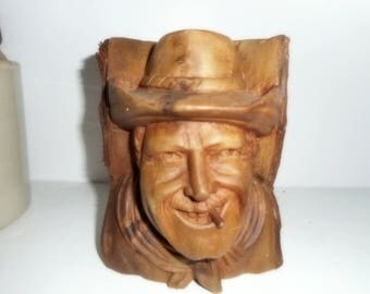Carved Stump , Small Stump, Carved Head ,Cowboy Face, Country Carving, Farmhouse Decor, Walnut Carving