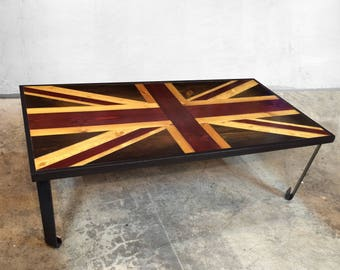 Union Jack Flag - British Flag - Weathered Reclaimed Wood Coffee Table or Desk - Reclaimed Wood Art - Modern Wood Wall Art - Wood Desk