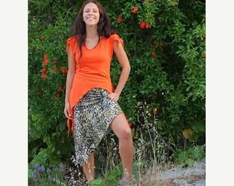 ON SALE SALE 30% Off Asymmetrical Knee Length A-line Skirt, Womens Jersey skirt, Casual knit summer skirt