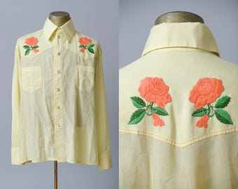 70s Embroidered Western Pearl Snap Floral Permanent Press Cowboy Shirt