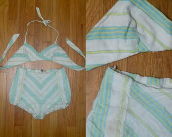 1950s Cotton Swimsuit Novelty Sweetheart Pin Up Bombshell Two Piece Striped Swimsuit Playsuit