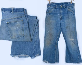 1950s ELY and WALKER Distressed Denim Work Wear Jeans 33 x 26