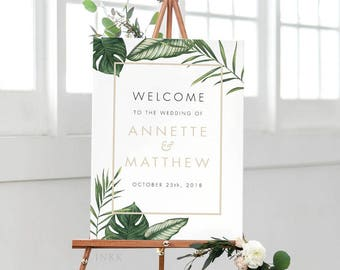 Printable Welcome Sign Poster Modern Tropical Foliage Wedding Welcome Sign-Wedding Reception Sign Printable Wedding Sign - (Item code: P408)
