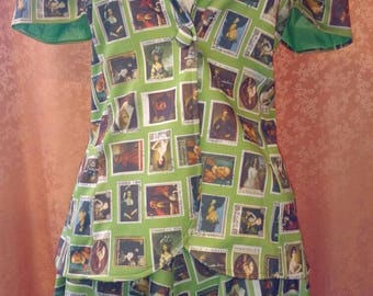 Funky 1970s 2pc Green Blazer and Skirt with Victorian Stamp Motif
