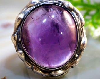 Amethyst Ring Purple Stone Sterling Silver Jewelry Izovella