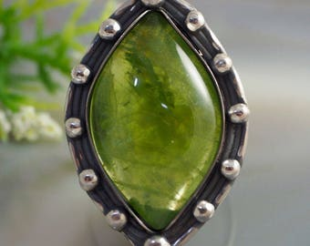 Chrysolite Ring Green Stone Ring Sterling Silver Jewelry