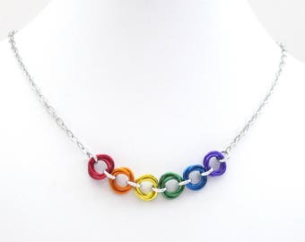 LGBT pride necklace, rainbow jewelry, chainmail gay pride love knot necklace