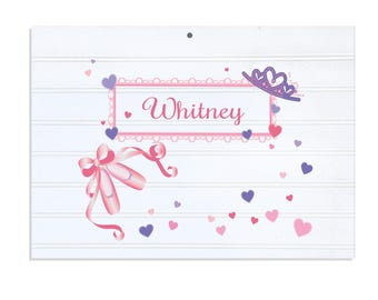 Personalized White Vintage Childrens Room Sign Ballet Princess-WRS-321