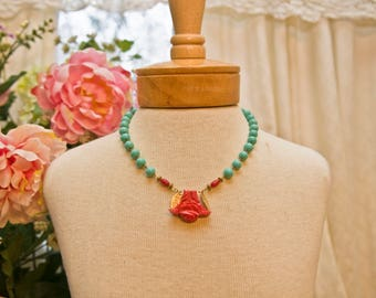 Turquoise Ceramic Bead Necklace