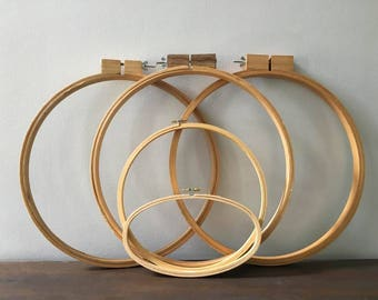 Wooden Embroidery Hoop Lot / 5 Embroidery Hoops / Various Sizes