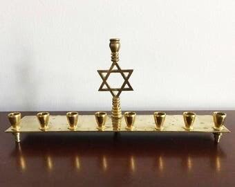 Brass Menorah with Star of David / Vintage Hanukkah Decor / Jewish Candelabra