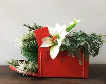 Kitschy Christmas Mailbox Floral Arrangement / Vintage Plastic Flowers in Mailbox