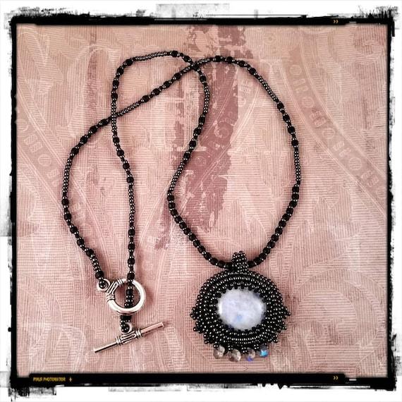 Dark Crystal Beaded Moonstone Necklace
