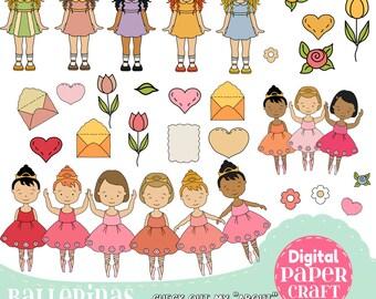 Ballet Clipart, Children Clipart,Ballerina Clipart, Dance clipart, Letter clipart, Clipart,  Flower clipart, Nature Clipart, female Clipart