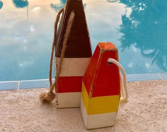 Coastal Decor Set Orange White Yellow Lobster Buoy Nautical Wooden by SEASTYLE