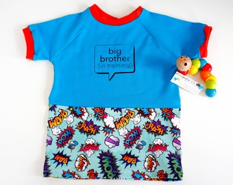 Big Brother announcement t-shirt, sibling announcement prop, big brother in training clothes, new baby